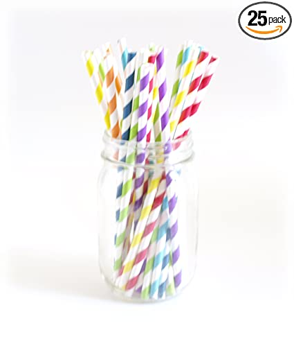 Striped Straws Paper Buy Rainbow Striped Paper Straws