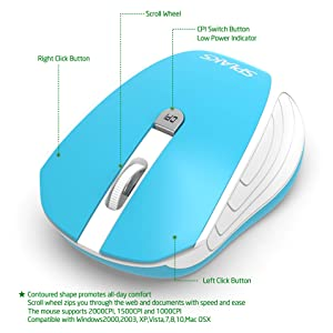 Wireless Mouse,Splaks 2.4Ghz Wireless Optical Mouse with Nano USB Receiver,4 Buttons, 3 Adjustable DPI Level (1000/1500/2000) - MS0808 Blue (Color: Blue White)