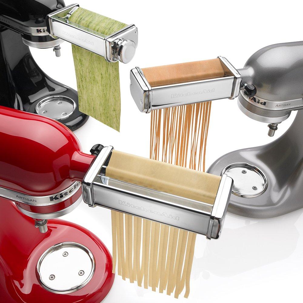 Kitchenaid pasta attachments to roll and cut spaghetti, ravioli. more...