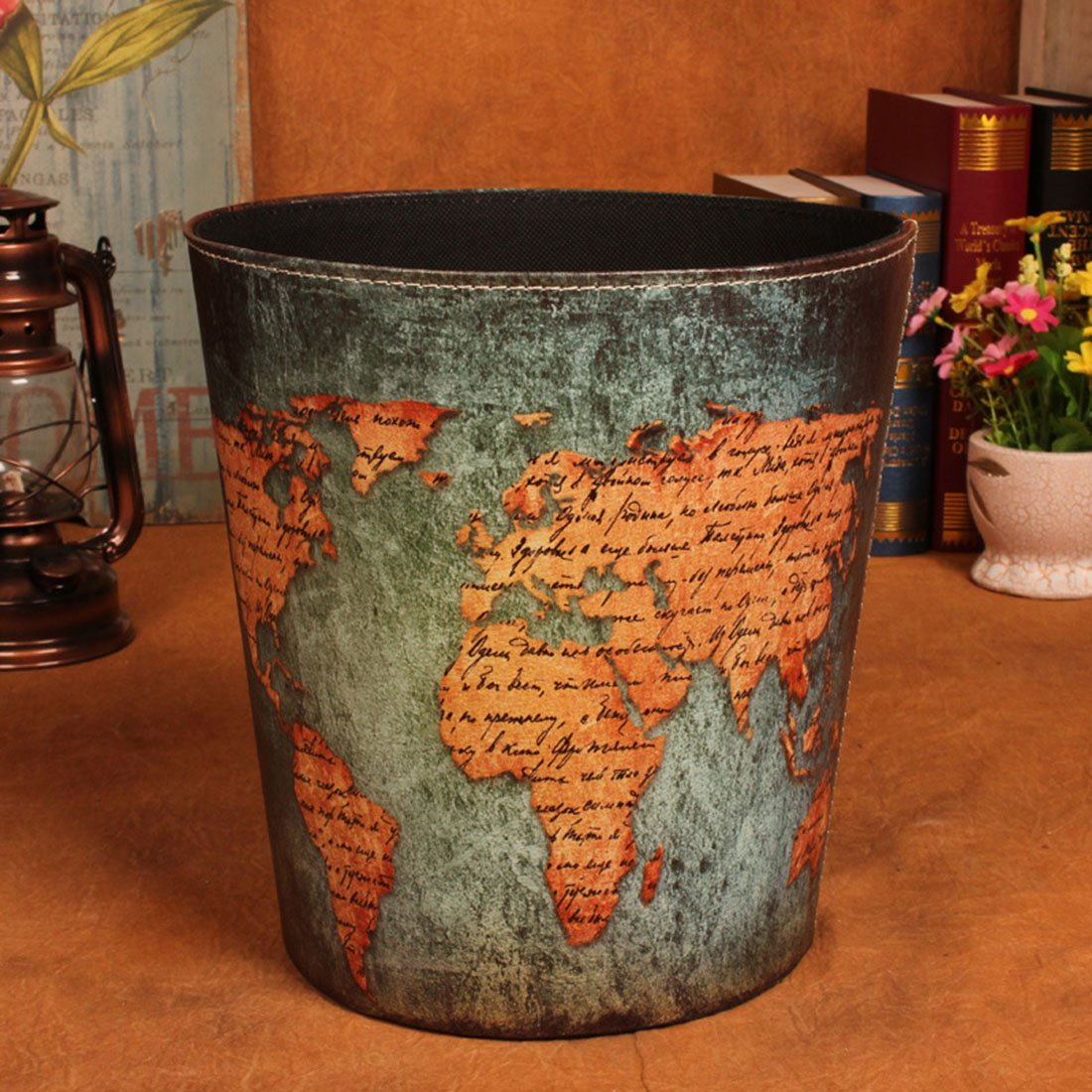 Wastebasket, Yamix Retro European Style Household Home Office Round PU Leather Waste Bin Paper Basket Trash Can Dustbin Garbage Bin Waste-paper Basket Ashcan Ashbin without Lid - World Map 1
