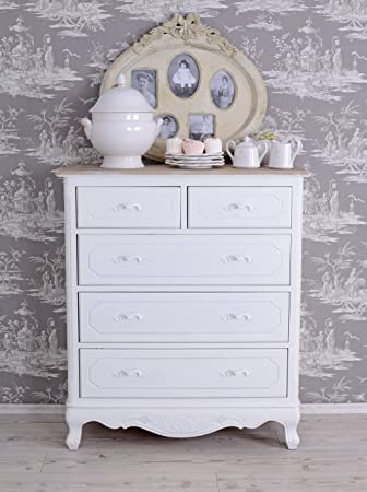 Chest of Drawers Cabinet Country Style Antique Look White Palazzo Exclusive