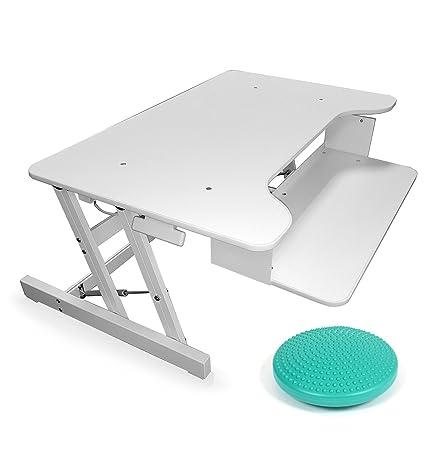 Office fitness Standeasy Deskriser LX free equilibrio cuscino regolabile in altezza | sit-stand workstation | Altezza regolabile da scrivania white