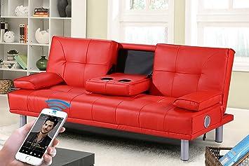 Neue Manhattan moderne'Sleep Design'Kunstleder, 3-Sitzer, mit Bluetooth-Stereo-Lautsprecher schwarz, Rot, Weiß, Grun oder Braun, Kunstleder, rot, Drei Sitze 60 watts