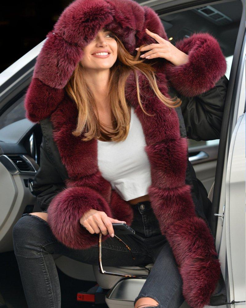 Roiii Vintage Women Military Faux Fur Hooded Winter Warm Coat Ladies Jacket Size 8-18 4