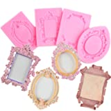 Mujiang Baroque Style Fondant Molds Curlicues Scroll Lace Photo Frame Silicone Molds Sugarcraft Cake Border Decoration Molds(3pcs) (Color: Pink)