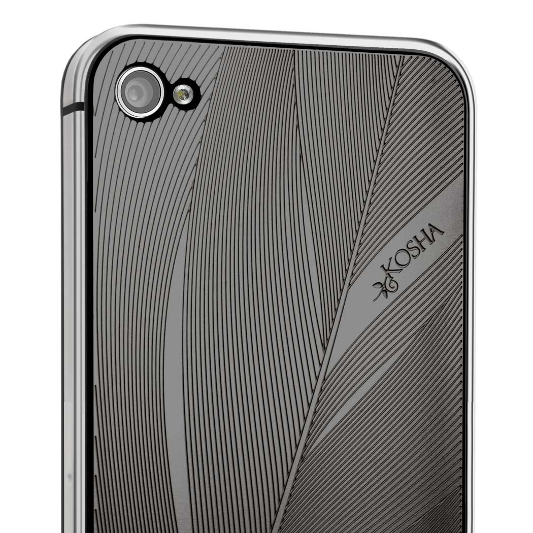 iPhone 4, 4s cover. Black plastic bumper + KOSHA engraved metal plate   Feather design in Black Gold layered steel   swiss made   gift idea for women and men   iPhone not includedCustomer reviews