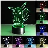 Pokemon Pikachu 3D Night Light - Pokemon Gifts - 3D Led Lamp - Acrylic Lamp - 3D Pokemon Pikachu - Optical Illusion Led Light (Color: Multicolor)