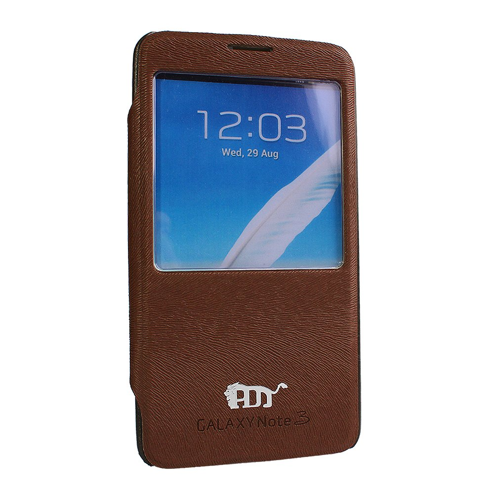Pdncase Samsung Note 3 Cover Flip Case - Brown
