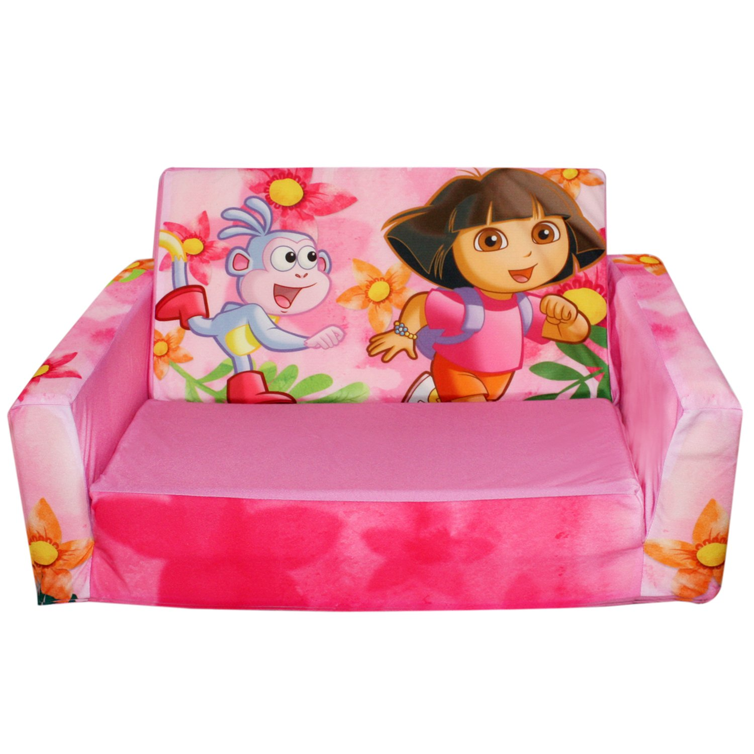 Childrens Sofa & Chairs Sets: Dora the Explorer Pink Flip Sofa/Couch