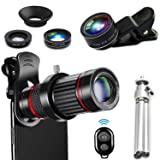 DDcafor 18X Mobile Phone 4 in 1 Camera Telephoto Lens 198° Fish Eye + Wide-Angle +15X Macro Lens Kit Compatible with iPhone Android Single and Double Shot (Color: 18X)