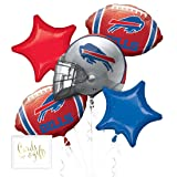 Andaz Press Balloon Bouquet Party Kit with Gold Cards & Gifts Sign, Bills Football Themed Foil Mylar Balloon Decorations, 1-Set (Color: Sports Bills)