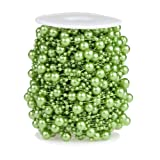 Bingcute 100 Feet Fishing Line Artificial Green Pearls String Beads Chain Garland Flowers Wedding Party Decoration,Party Supplies (Color: Green)