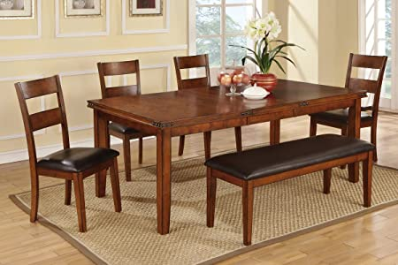 Poundex F2191 & F1231 & F1232 Oak Table & Black Vinyl Chairs/Bench Dining Set