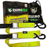 RHINO USA Motorcycle Tie Down Straps (2 Pack) Lab Tested 3,328lb Break Strength, Steel Cambuckle Tiedown Set with Integrated Soft Loops - Better Than a Ratchet Strap (Color: 2pk Yellow)