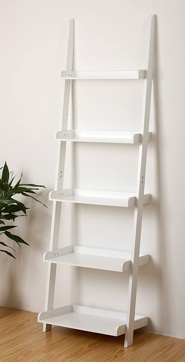 "eHemco 5 Tier Bookcase Shelf Ladder in White Finish 21-5/8""W X70""H"