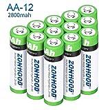 AA Rechargeable Batteries, AA Batteries 2800mAh High-Capacity AA Batteries Rechargeable AABatteries 1.2V Ni-MH Low Self Discharge (12pack) (Tamaño: 12pack)