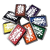 Best Stamp Craft Washable Ink Pad Stamps DIY Colors, 8 Colors Finger Ink pad, Craft Finger Stamp Pads for Rubber Stamps, Suitable on Paper, Scrapbooking, Nice Gifts for Kids and Children (8 Pack) (Color: 900-W-8)