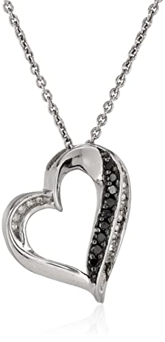 Sterling-Silver-Black-and-White-Diamond-1-10cttw-I-J-Color-I2-I3-Clarity-Heart-Pendant-Necklace-18-