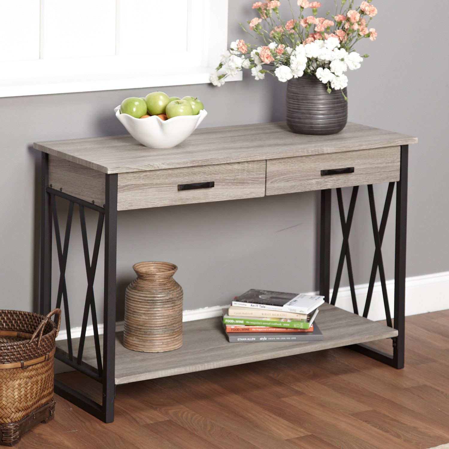 Console sofa table living home furniture decor room hallway accent entryway wood ebay - Sofa table with cabinets ...