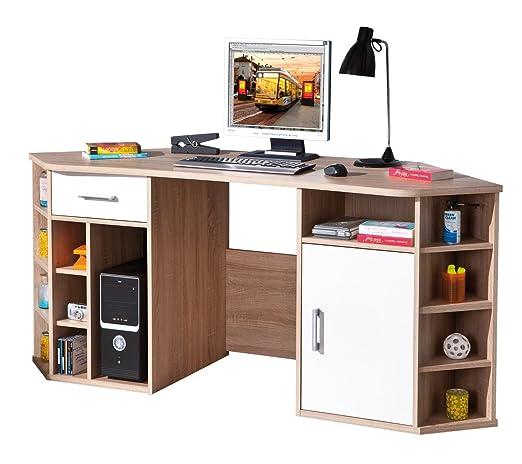 Links 19200200 Schreibtisch Eckschreibtisch Buromöbel Burotisch Arbeitstisch Buro Sonoma weiß