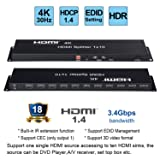 HDMI Splitter, AOKEN HDMI Splitter 1 in 10 Out Full HD 4K/2K 3D Resolution with IR Extension Edin Management RS 232 Works with Monitors Projecters DVD Player A/V Receiver Set Top Box etc