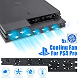 Linkstyle Cooling Fan for PS4 PRO, USB External Cooler 5 Fan Turbo Temperature Control for Sony Playstation Pro Gaming Console (Tamaño: For ps4 pro only)