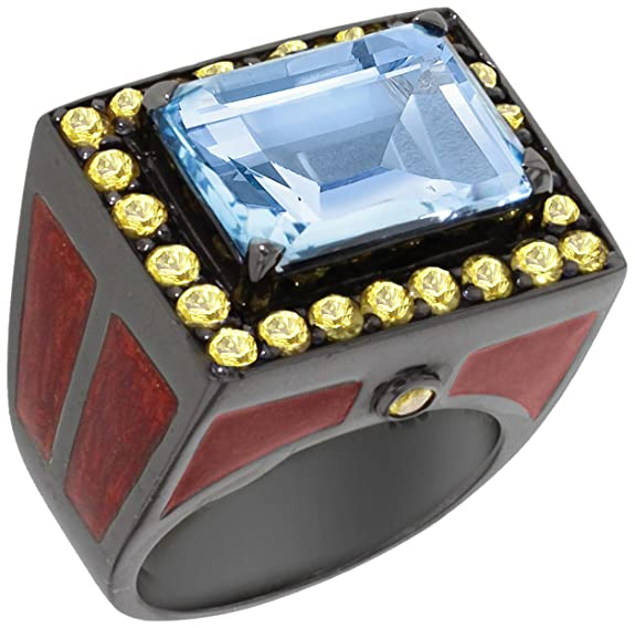 Matthew Campbell Laurenza Sterling Silver with Sapphire Deco City Block Ring