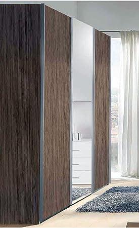 Dormitorio armario de roble gris 2 puertas correderas y un espejo central.