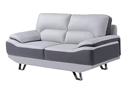 Global Furniture Natalie Loveseat, Light Grey and Dark Grey