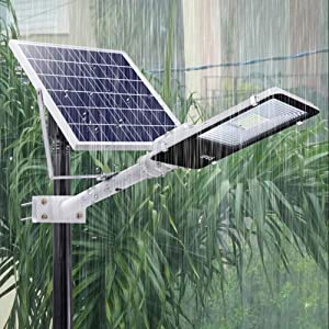 ECO-WORTHY 50 W Solar Street Lights Outdoor Lamp, 5500LM Solar Powered Flood Lights, White 6500K, Dusk to Dawn Sensor Lamp with Remote Control, Light Control for Street, Garden, Pathway (Color: Silver, Tamaño: 50W)