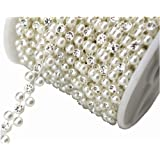 AEAOA 8mm Ivory Pearl and Rhinestone Chain Sewing Trims Cake Decoration (LZ118) (Color: Ivory, Tamaño: LZ118)