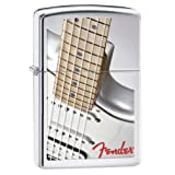 Zippo Fender White Guitar Pocket Lighter, High Polish Chrome