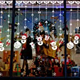 Amaonm New Creative Removable DIY Merry Christmas White Snowman Ornaments Strap Decorations Wall art Decor Decals Murals for Shop Home Window Door Showcase Bedroom Living room Office (Color: White)