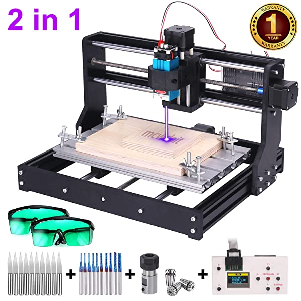 Upgrade 3000MW Laser Engraver CNC 3018 Pro Router Kit Engraving Machine, GRBL Control 3 Axis DIY Mini CNC Machine Wood PCB Milling Machine with Offline Controller + CNC Router Bits + ER11 Extension Ro (Tamaño: 3w laser 3018pro)