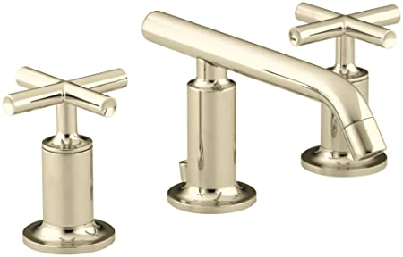 KOHLER K-14410-3-AF Purist Widespread Bathroom Sink Faucet with Low Cross Handles and Low Spout, Vibrant French Gold