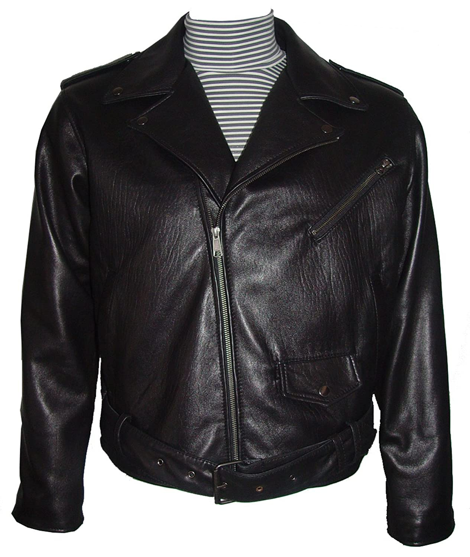 Johnnyblue 4 Saison Kleidung Herren 1018 schwarz Lamm Leder Klassiker Motorrad Jacke