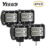 LED Pods LED Light Bar 4'' 48W Quad Row LED Flood Work Light LED Cubes Driving Fog Lamps Off Road Lights for Trucks Pickup Jeep SUV ATV UTV LED Boat Light YEEGO (4Pack-48W Flood Light) (Color: 4Pack-48W Flood Light, Tamaño: 4Pack-48W Flood Light)