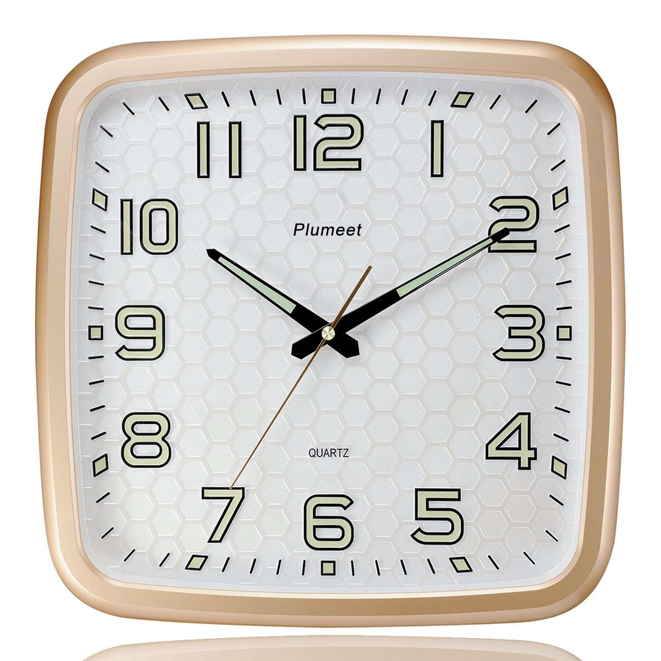 Plumeet 14-Inch Wall Clock with Classics and Specified Design of Silent Non-Ticking Night Lights for Indoor Kitchen Large Number Battery Operated (Gold) 2