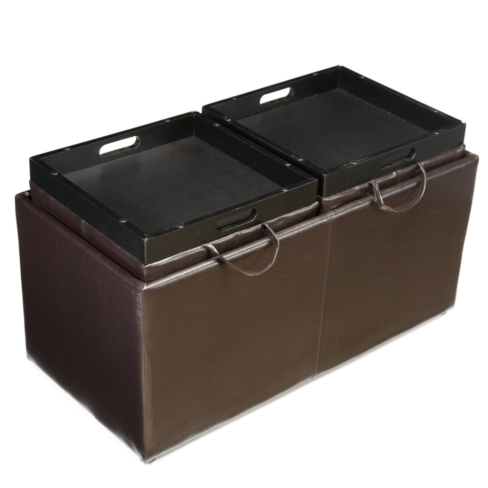 A Jameson Double Storage Ottoman With Tray Tables