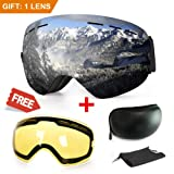 Extra Mile Ski Goggles, Anti-Fog UV Protection Winter Snow Sports Snowboard Goggles Interchangeable Spherical Dual Lens Men Women & Youth Snowmobile Skiing Skating (Black Frame) (Color: Spherical: Silver + Yellow)