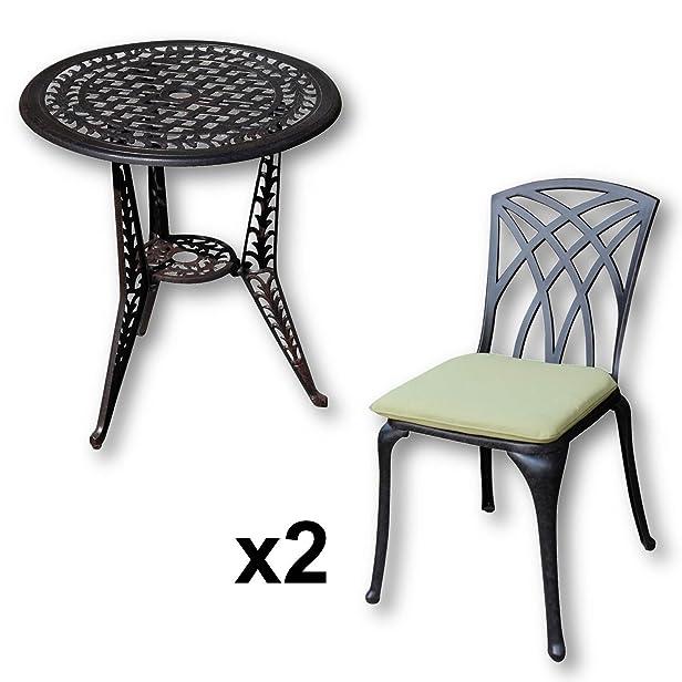 Lazy Susan - Tavolo bistro IVY e 2 sedie da giardino - Set da giardino in alluminio pressofuso, colore Bronzo Antico (sedie MAY, cuscini verdi)