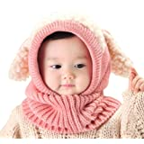 Baby Girls Boys Winter Hat Scarf Earflap Hood Scarves Skull Caps Pink One (Color: Pink, Tamaño: One Size)