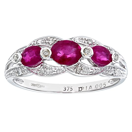 Naava 9ct White Gold Ruby And Diamond Fig 8 Design Ring