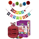 Balloon Time Disposable Helium Tank 14.9 cu.ft - 50 Balloons and Ribbon Included by Blue Ribbon + Pom Poms with Colorful Happy Birthday Banner (Color: White)