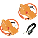 Fox 40 Classic Loud Pealess Official Referee, Sports Coach, Lifeguard Whistle + Breakaway Lanyards | 2pk Bundle + Koala Lanyard, Orange (Color: Orange, Tamaño: 2 Pack)
