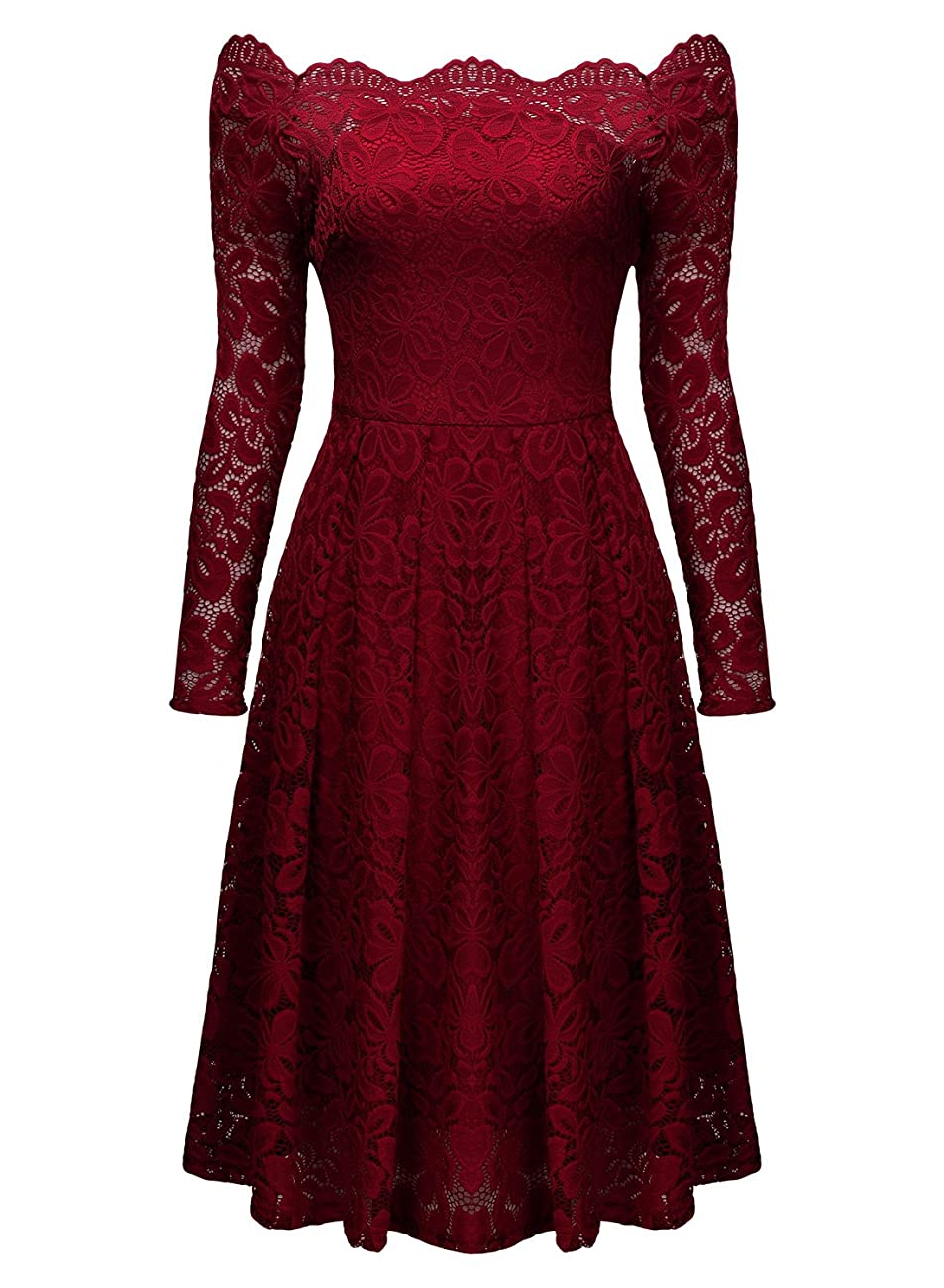 MissMay Women's Vintage Floral Lace Long Sleeve Boat Neck Cocktail Formal Swing Dress 2