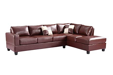 Glory Furniture G300B-SC Sectional Sofa, Brown, 2 Boxes