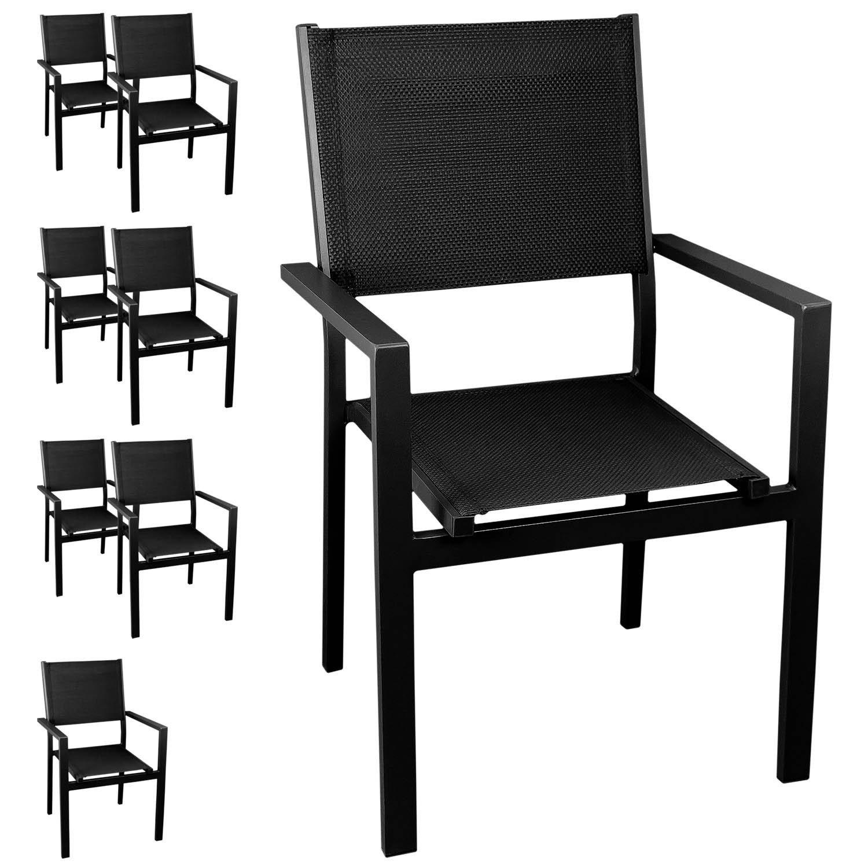 8x Aluminium Gartenstuhl Stapelstuhl Bistrostuhl , stapelbar, hochwertige 4×4 Textilenbespannung, schwarz/schwarz – Gartensessel Stapelsessel Balkonmöbel Gartenmöbel Terrassenmöbel Sitzmöbel günstig online kaufen
