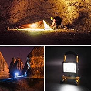 Hallomall [15W 24LED] Spotlights Work Lights Outdoor Camping Lights, Built-in Rechargeable Lithium Batteries (with USB Ports to Charge Mobile Devices and Special SOS Modes) … (Color: Yellow, Tamaño: Large)