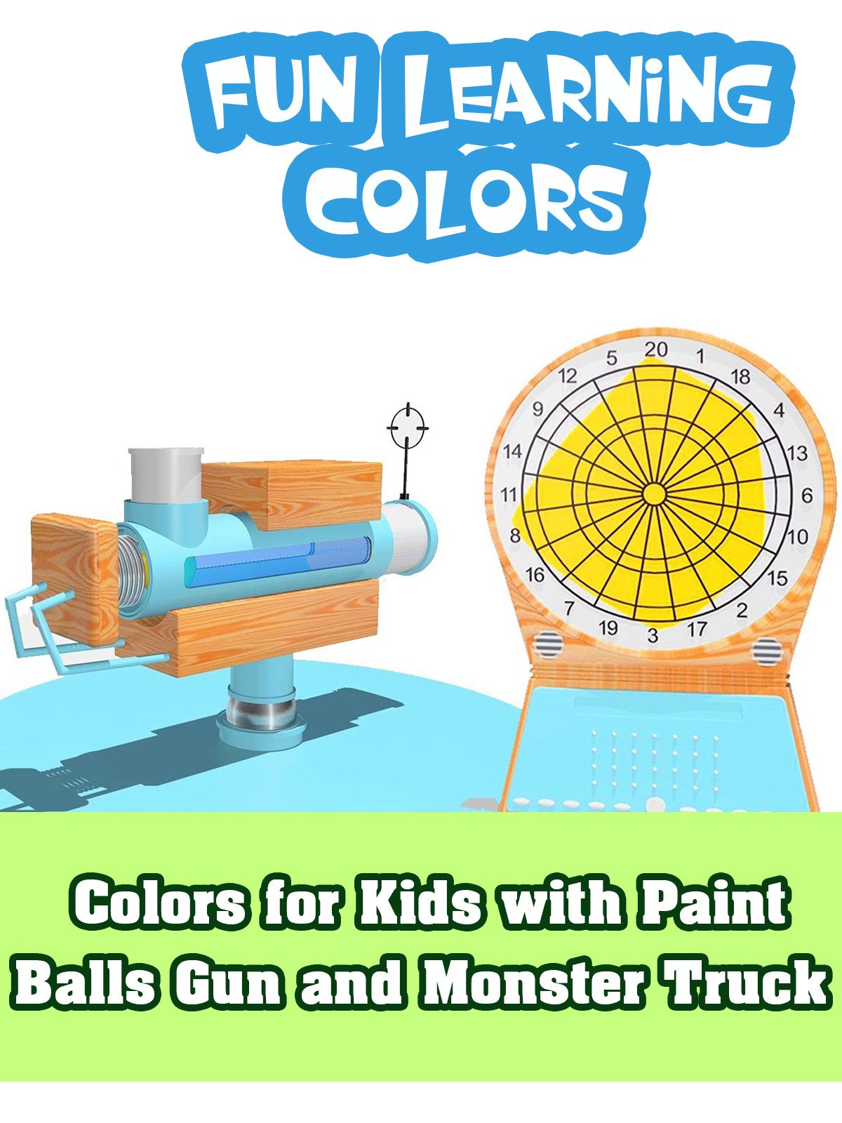 Colors for Kids with Paint Balls Gun and Monster Truck
